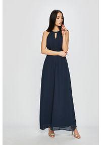 Niebieska sukienka Vila na ramiączkach, maxi, rozkloszowana