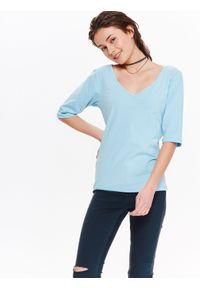 Niebieska bluzka TROLL na wiosnę, z dekoltem na plecach, na co dzień, z krótkim rękawem