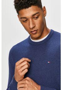 Niebieski sweter TOMMY HILFIGER z długim rękawem, długi, z aplikacjami