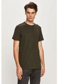 Zielony t-shirt G-Star RAW z okrągłym kołnierzem, na co dzień, casualowy
