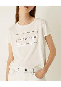 Marella - MARELLA - Biały t-shirt z nadrukiem Smirne. Okazja: na co dzień. Kolor: biały. Materiał: jeans, bawełna. Wzór: nadruk. Styl: casual, klasyczny