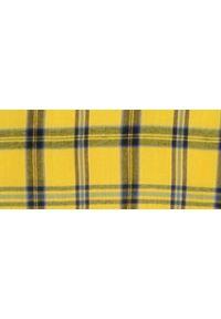 TOP SECRET - Bluzka w kratę z bufiastymi rękawami. Okazja: na co dzień. Typ kołnierza: dekolt w łódkę. Kolor: żółty. Materiał: materiał. Długość: krótkie. Sezon: wiosna, lato. Styl: elegancki, casual