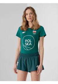 4f - Koszulka damska Polska - Tokio 2020. Kolor: zielony. Materiał: dzianina, bawełna. Wzór: nadruk. Sezon: lato