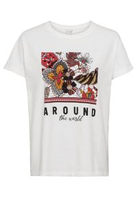 Shirt oversize z nadrukiem bonprix biel wełny z fotodrukiem. Kolor: biały. Materiał: wełna. Wzór: nadruk