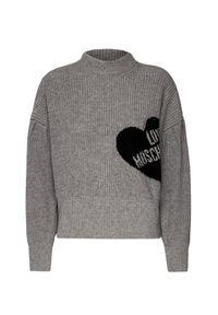 Szary sweter Love Moschino krótki, z kontrastowym kołnierzykiem