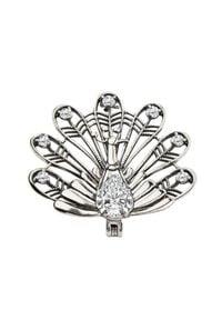 Polcarat Design - Broszka srebrna z cyrkoniami PAW B 135. Materiał: srebrne. Kolor: srebrny. Wzór: aplikacja. Kamień szlachetny: cyrkonia