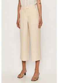 Kremowe spodnie materiałowe Vero Moda z podwyższonym stanem