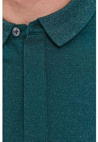 BOSS - Boss - Longsleeve. Kolor: zielony. Materiał: bawełna, dzianina, materiał. Długość rękawa: długi rękaw. Wzór: gładki