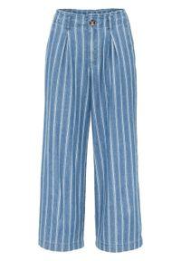 Dżinsy 7/8 w paski bonprix niebiesko-biały w paski. Kolor: niebieski. Wzór: paski. Styl: elegancki