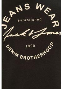 Czarna bluza nierozpinana Jack & Jones casualowa, bez kaptura, na co dzień, z nadrukiem