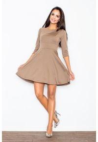 Figl - Beżowa Elegancka Sukienka z Rozkloszowanym Dołem. Kolor: beżowy. Materiał: lycra, poliester, wiskoza. Styl: elegancki