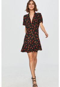 Czarna sukienka Answear Lab w kwiaty, prosta, mini