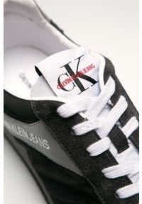 Czarne sneakersy Calvin Klein Jeans na sznurówki, z cholewką