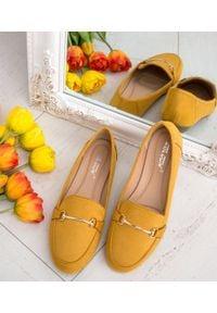 Żółte mokasyny ABLOOM eleganckie, bez zapięcia, w kolorowe wzory