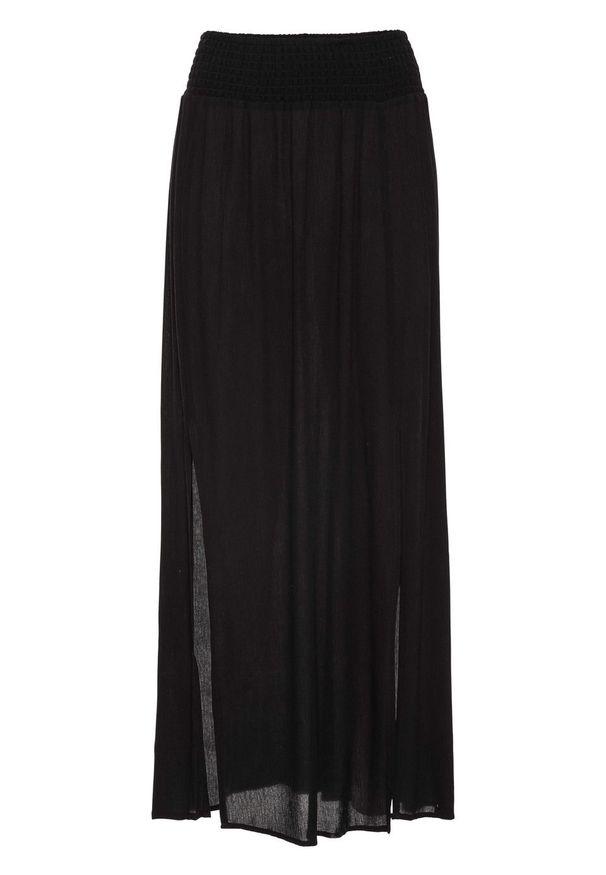 Długa spódnica z rozporkami bonprix czarny. Kolor: czarny. Długość: długie