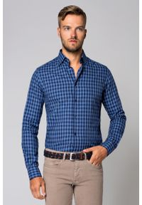 Niebieska koszula Lancerto casualowa, w kratkę