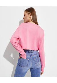 Balmain - BALMAIN - Krótka różowa bluza. Kolor: różowy, wielokolorowy, fioletowy. Materiał: bawełna, kaszmir. Długość rękawa: długi rękaw. Długość: krótkie