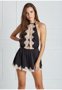Saintmiss - Koszula nocna w japońskim stylu // Yvonne - L, Czarny. Kolor: czarny. Materiał: satyna, materiał, koronka. Długość: krótkie. Wzór: koronka, aplikacja