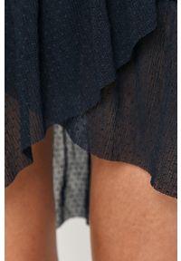 Niebieska sukienka Vila z długim rękawem, prosta, mini, casualowa