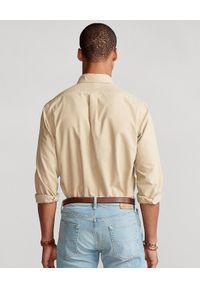 Ralph Lauren - RALPH LAUREN - Beżowa koszula Oxford Custom Fit. Okazja: na co dzień. Typ kołnierza: polo. Kolor: beżowy. Materiał: bawełna. Długość rękawa: długi rękaw. Długość: długie. Wzór: haft. Styl: sportowy, klasyczny, casual