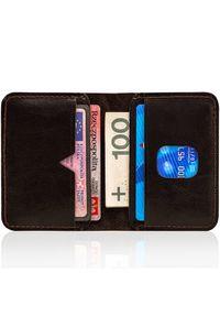 Cienki skórzany portfel męski Solier SW11 ciemnobrązowy. Kolor: brązowy. Materiał: skóra