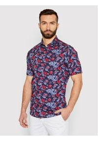 Tommy Hilfiger Tailored Koszula Flower Print MW0MW18449 Granatowy Regular Fit. Kolor: niebieski. Wzór: nadruk