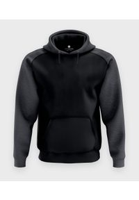 MegaKoszulki - Męska bluza dwukolorowa premium (bez nadruku, gładka) - czarna. Kolor: czarny. Materiał: bawełna. Wzór: gładki