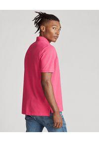 Ralph Lauren - RALPH LAUREN - Różowa koszulka polo Slim Fit Mesh. Typ kołnierza: polo. Kolor: wielokolorowy, fioletowy, różowy. Materiał: mesh. Długość: długie. Wzór: haft #5