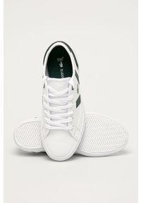 Białe buty sportowe Lacoste na sznurówki, z cholewką, z okrągłym noskiem