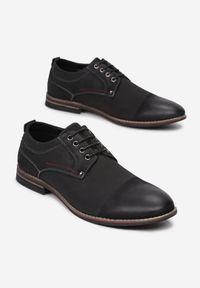 Born2be - Czarne Półbuty Delovien. Nosek buta: okrągły. Kolor: czarny. Materiał: skóra. Szerokość cholewki: normalna. Wzór: aplikacja. Obcas: na obcasie. Styl: elegancki. Wysokość obcasa: niski