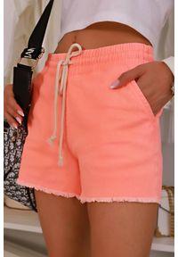 Pomarańczowe spodnie IVET krótkie, na lato