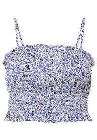 Top bonprix beżowo-niebieski w kwiaty. Kolor: różowy. Długość: krótkie. Wzór: kwiaty