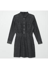 Cropp - Jeansowa sukienka - Szary. Kolor: szary. Materiał: jeans