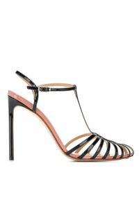 FRANCESCO RUSSO - Skórzane sandały na szpilce. Zapięcie: pasek. Kolor: czarny. Materiał: skóra. Wzór: paski. Obcas: na szpilce