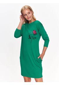 Zielona sukienka TOP SECRET na jesień, na co dzień, z nadrukiem, z krótkim rękawem