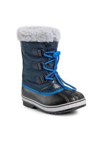 Niebieskie buty zimowe sorel z cholewką, na spacer