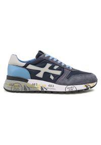 Premiata - Sneakersy PREMIATA - Mick 1280E Grey/Navy/Light Blue. Kolor: niebieski. Materiał: zamsz, materiał, skóra ekologiczna. Szerokość cholewki: normalna