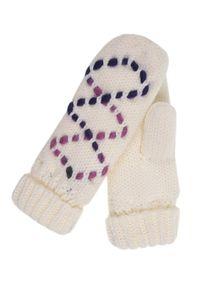 Białe rękawiczki TOP SECRET na zimę, z haftami