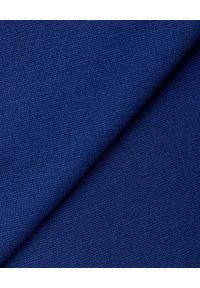 Emporio Armani - EMPORIO ARMANI - Niebieska sukienka mini. Kolor: niebieski. Materiał: wiskoza, materiał. Długość rękawa: długi rękaw. Typ sukienki: dopasowane, kopertowe. Styl: elegancki. Długość: mini