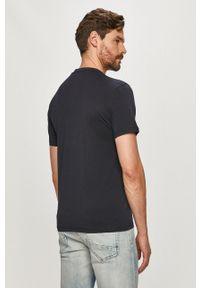 Niebieski t-shirt Napapijri casualowy, polo, z nadrukiem