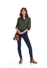 Niebieskie spodnie TOP SECRET długie, na wiosnę, wakacyjne, w kolorowe wzory