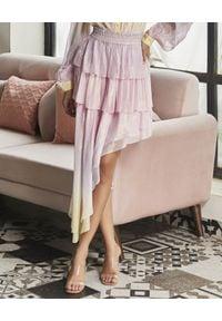 ROCOCO SAND - Asymetryczna spódnica. Okazja: na imprezę. Kolor: fioletowy, różowy, wielokolorowy. Materiał: materiał. Wzór: aplikacja. Sezon: lato