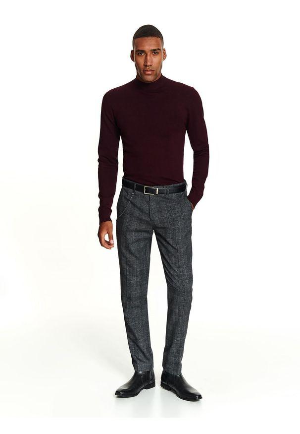 Szare spodnie TOP SECRET w kolorowe wzory, na zimę, klasyczne