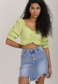 Renee - Jasnoniebieska Spódnica Paphexia. Kolor: niebieski. Materiał: jeans, denim. Wzór: aplikacja