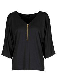 """Shirt """"nietoperz"""" z zamkiem bonprix czarny. Kolor: czarny"""
