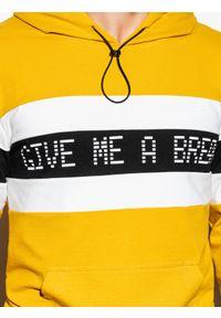 Żółta bluza Ombre Clothing z nadrukiem, z kapturem #4