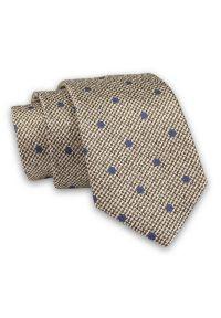 Alties - Brązowy Melanżowy Elegancki, Męski Krawat -ALTIES- 7cm, Stylowy, Klasyczny, w Granatowe Kropki. Kolor: niebieski, beżowy, brązowy, wielokolorowy. Materiał: tkanina. Wzór: grochy. Styl: klasyczny, elegancki