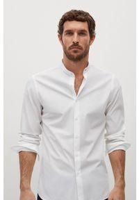 Biała koszula Mango Man ze stójką, z długim rękawem, długa