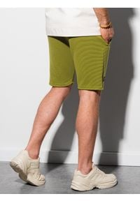 Ombre Clothing - Krótkie spodenki męskie dresowe W294 - oliwkowe - XXL. Kolor: szary. Materiał: dresówka. Długość: krótkie. Styl: sportowy, klasyczny #4