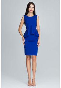 Figl - Niebieska Wizytowy Komplet Bluzka z Falbanką + Ołówkowa Spódnica. Kolor: niebieski. Materiał: poliester. Styl: wizytowy